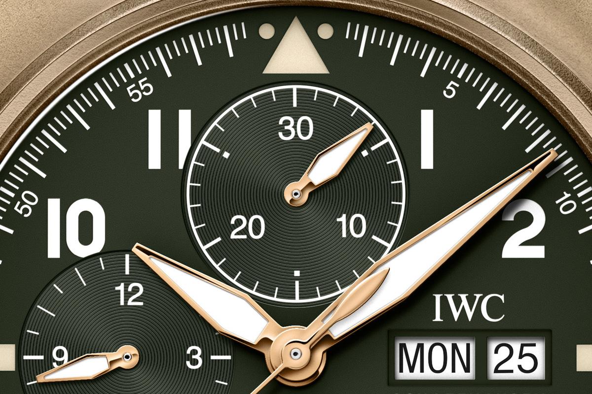 Dettaglio del quadrante dell'IWC Pilot's Watch Chronograph Spitfire
