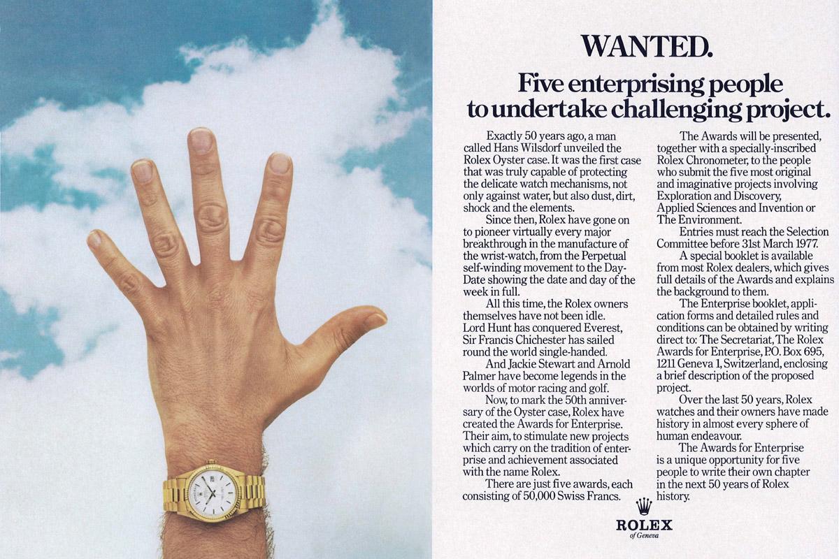 Pubblicità del 1976 per il lancio dei Rolex Awards for Enterprise