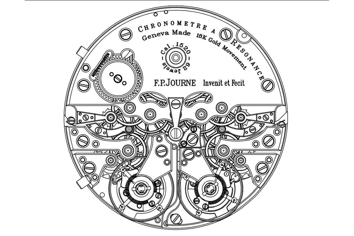 Il disegno del movimento del nuovo Cronometro a risonanza di FP Journe