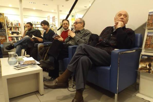 """La presentazione di """"Partita di anime"""" a Firenze, il 21 marzo 2014 (con Vanni Santoni, Raoul Bruni, Giuseppe Panella e Corrado Marsan)"""