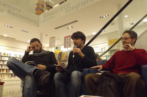 Da sinistra: Vanni Santoni, Raoul Bruni e io.