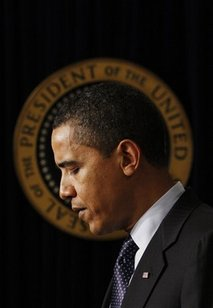 President Barack Obama pause as he speaks at the close of the Fiscal Responsibility Summit, Monday, Feb. 23, 2009, in the Old Executive Office Building at the White House in Washington. (AP Photo/Pablo Martinez Monsivais)