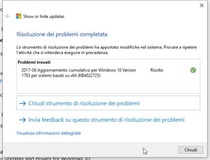 KB4022725, black screen e patch da nascondere (per ora) (aggiornato) 2