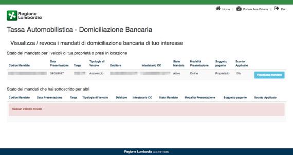 Regione Lombardia: domiciliazione bancaria del bollo auto 1