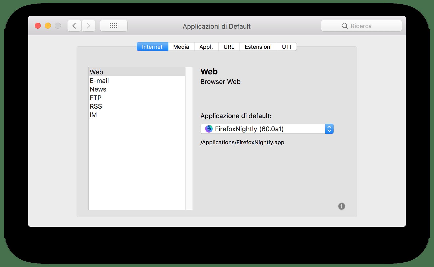 macOS: modificare l'associazione predefinita di estensioni e app 1