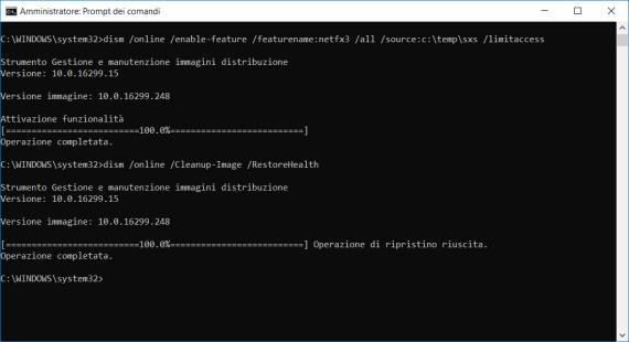 .NET Framework 3.5 e Windows 10, come risolvere l'errore 0x800F081F 1