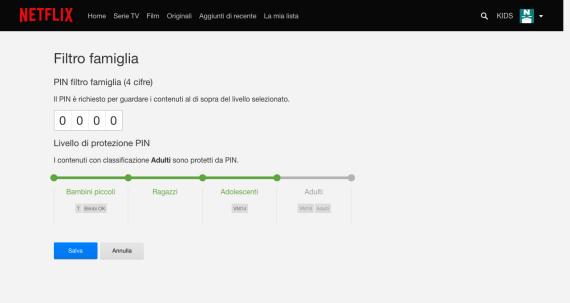 Netflix: abilitare il PIN per la visione dei contenuti