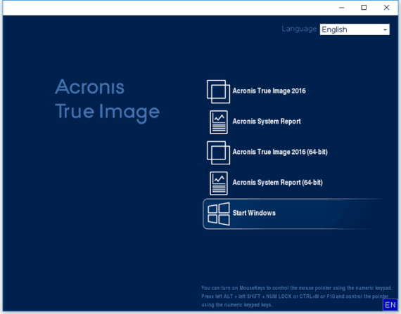 Acronis True Image 2016: scaricare l'immagine ISO 1
