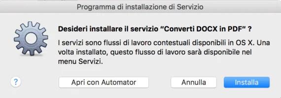 OS X: convertire un DOCX in PDF con due clic