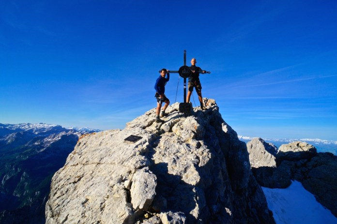 Andreas (l.) und Simon an der Mittelspitze des Watzmann