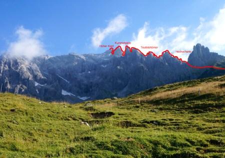 Wegverlauf des Königsjodlersteigs © Gipfelfieber.com