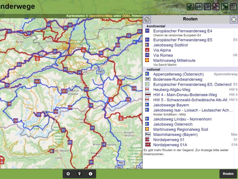 Screenshot der Waymarked Trails Routensuche