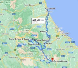 mappa Tortoreto Campo di Giove