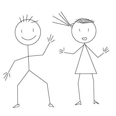 Как рисовать линиями девочку и мальчика?