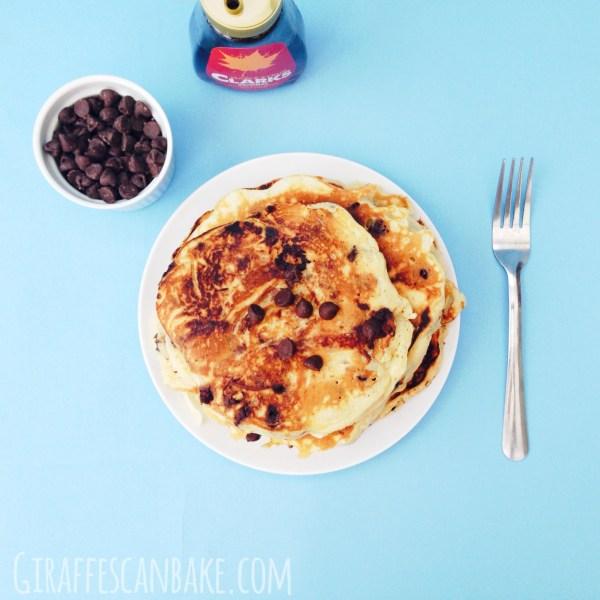 Chocolate Chip Cake Batter Pancakes