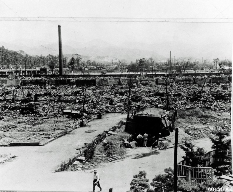 Hiroshima, Japan in ruins after the dropping of the atomic bomb, August 6, 1945. August 1945. People have built a shelter. The bomb ìLittle Boyî, was dropped on Hiroshima by an American B-29 bomber, the Enola Gay, flown by Colonel Paul Tibbets, directly killing an estimated 80,000 people. By the end of the year, injury and radiation brought the total number of deaths to 90,000-166,000. Hiroshima, Japan. (Photo By Galerie Bilderwelt/Getty Images)
