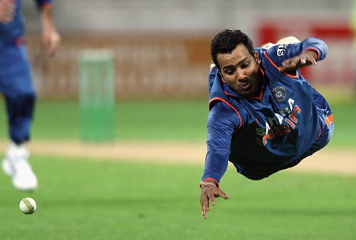 Rohit Sharma fails to latch on to a skier of the last ball of the second T20 International at Wellington on Friday as Indian went down by 5 wickets