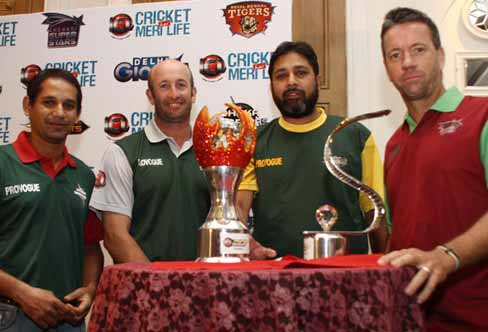Captains of the ICL teams posing with the Trophy