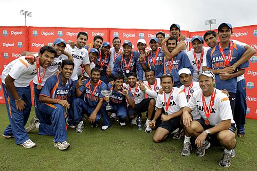 The Victorious Indian team with the trophy
