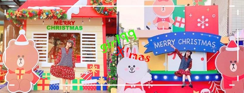 跟熊大&兔兔一起過聖誕節吧!台中新光三越與LINE FRIENDS合作的聖誕主題,要被熊大萌哭啦~~