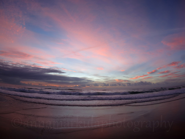 pink sunrise ocean Burleigh Gold Coast