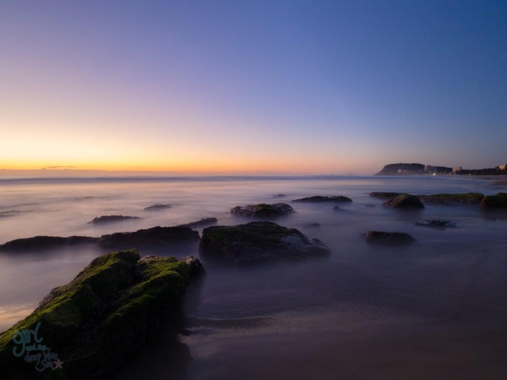 dawn Burleigh beach rocks