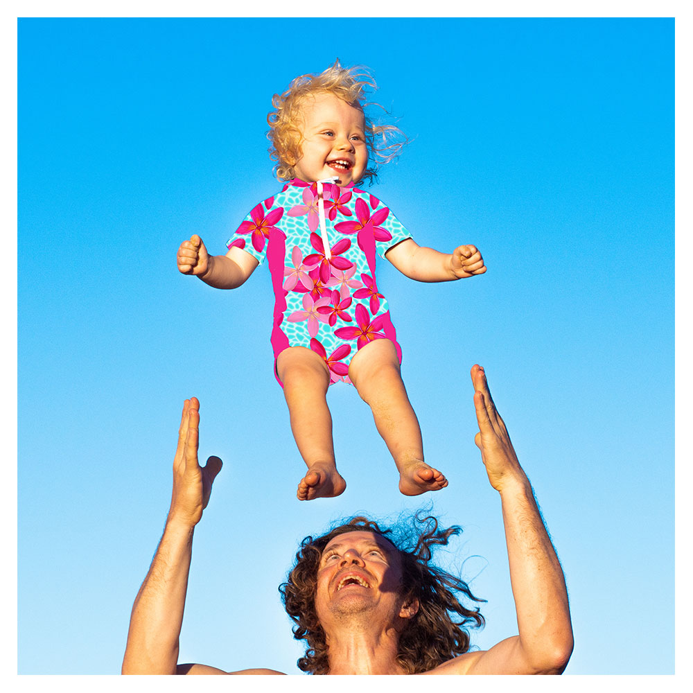 toddler in wetsuit jumping in sky, bright tropical seamless surface pattern design by Australian artist Anna Markula