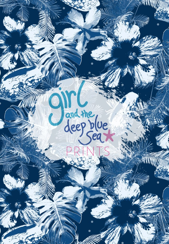 Blue Lagoon pattern design by Girl and the Deep Blue Sea