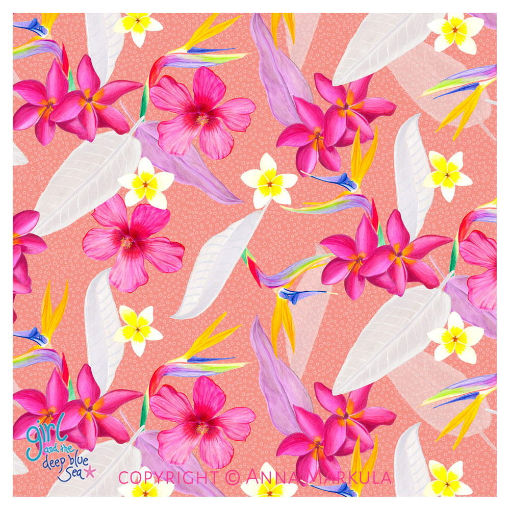 tropical pattern design - tropical flowers with a peachy background