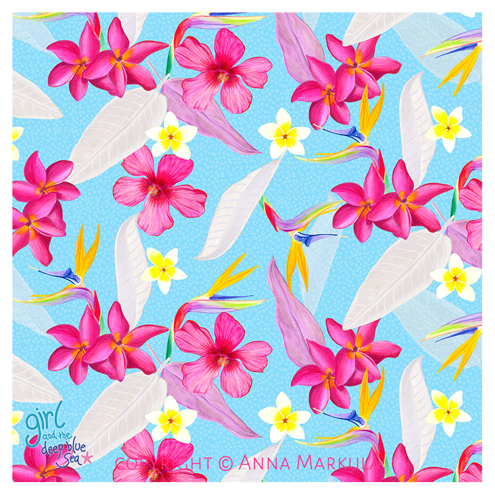 tropical pattern design - tropical flowers with a light blue background