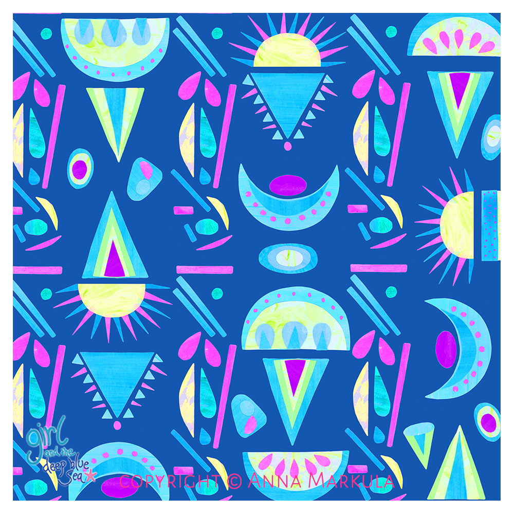 colourful surface pattern design with blue background