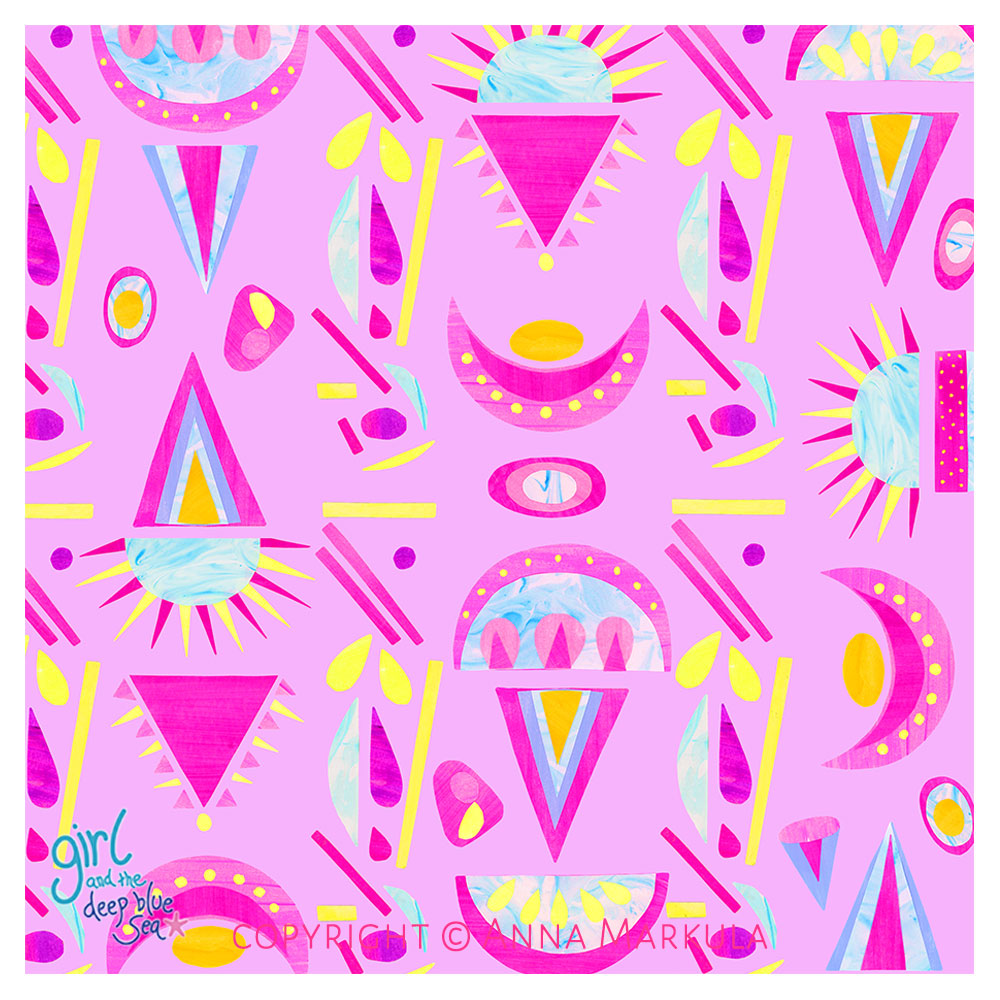 colourful repeat pattern design with pink background