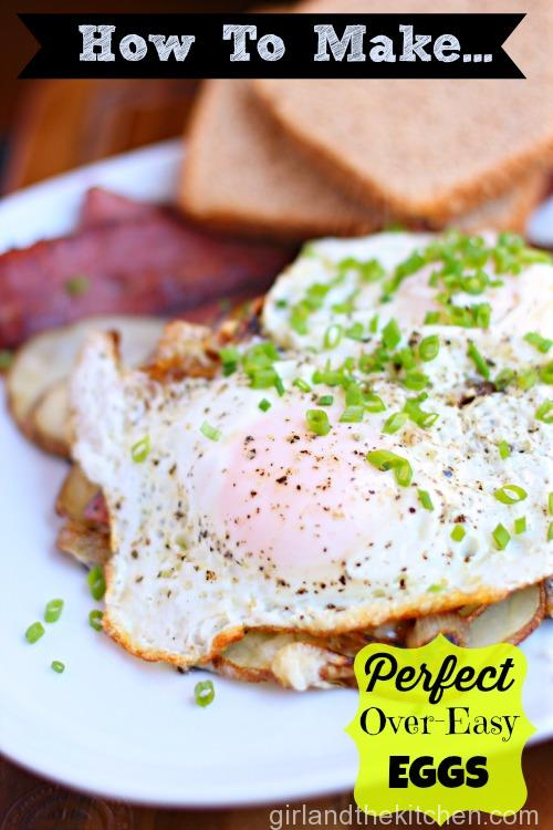 With a perfect pink yolk...yes PINK...that oozes gorgeous yellow all over the plate. The best part is that it's super easy with just a few tricks!!! Say hello to over easy eggs perfection...each and every single time. Boom.
