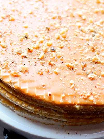 This is what my New Year's is known for. My Babushka's famous Vafilney Tort is an extremely simple no bake cake filled with condensed sweetened milk, wafers and walnuts. The simplicity of this cake reminds me that New Year's Eve is best filled with nostalgia and the comfort of friends.