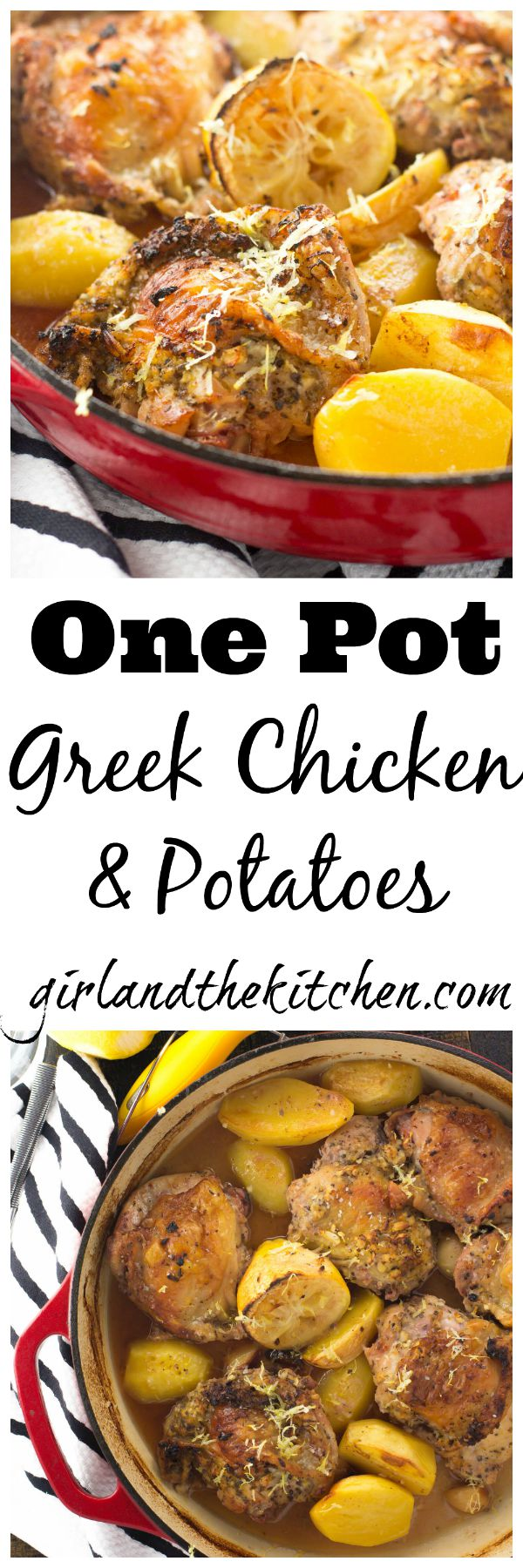 My One Pot Greek Chicken is full of bright lemony flavors and super tender potatoes. All made in one pot with maximum flavor and minimum clean-up!