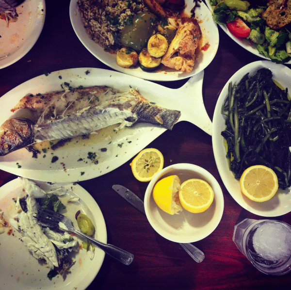 This recipe for Greek roasted branzino is perfect for a simple and healthy weeknight meal that requires almost zero clean up! Full of bright lemon and earthy oregano, this dish will transport you to a seaside taverna in Greece.