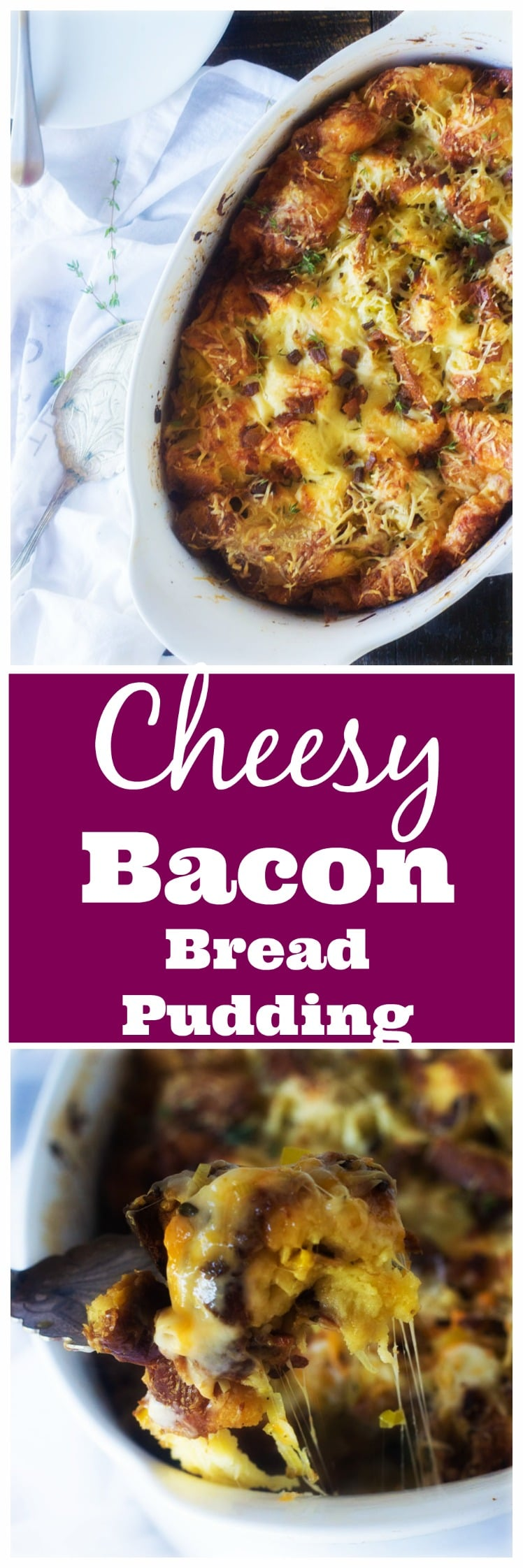 When dressing or stuffing just does not make the cut, make this glorious Cheesy Bacon Bread Pudding instead! Filled with sweet leeks, smoky bacon and salty Parmesan cheese this incredibly fast and delicious recipe will be the new go to for all your Thanksgiving and holiday must haves!