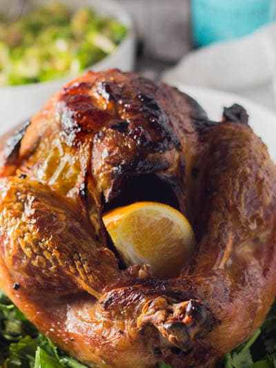 This super simple dry brined turkey is your solution to a dry turkey. It uses a technique that makes the turkey super most and delicious.! It is simple, mess free and MAKE AHEAD friendly. Plus it is a ONE PAN meal. Delicious potatoes cook in the same pan as the turkey with all the luscious garlic and pan drippings making for the most delicious and crispy potatoes EVER!