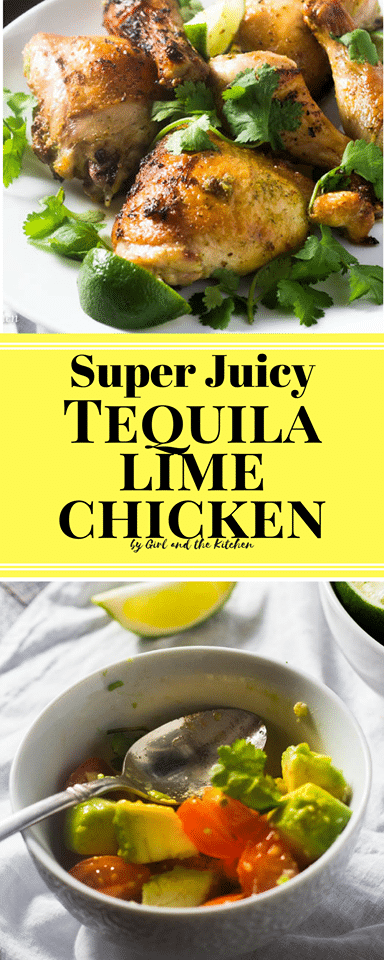 Forget the over dry and tasteless Mexican style chicken, my Baked Tequila Lime Chicken is not only super easy but is loaded with flavor and bursting with juices! Plus while it is marinade recommended it is not necessary making this chicken the perfect quick dinner meal!