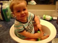 Whaddya mean I'm too big for sink baths?