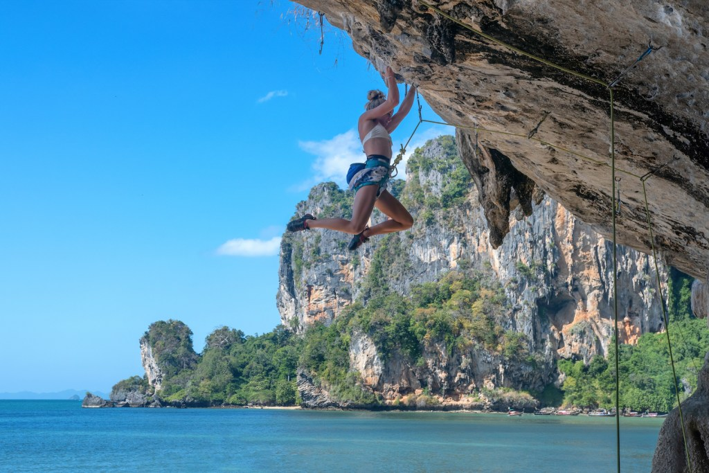 Krabi is one of the best places to go rock climbing in Thailand.