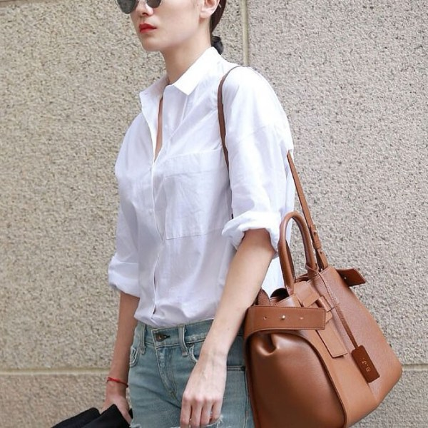 Basic White Full-Sleeve Shirt worn by a model with sunglasses and shoulder bag