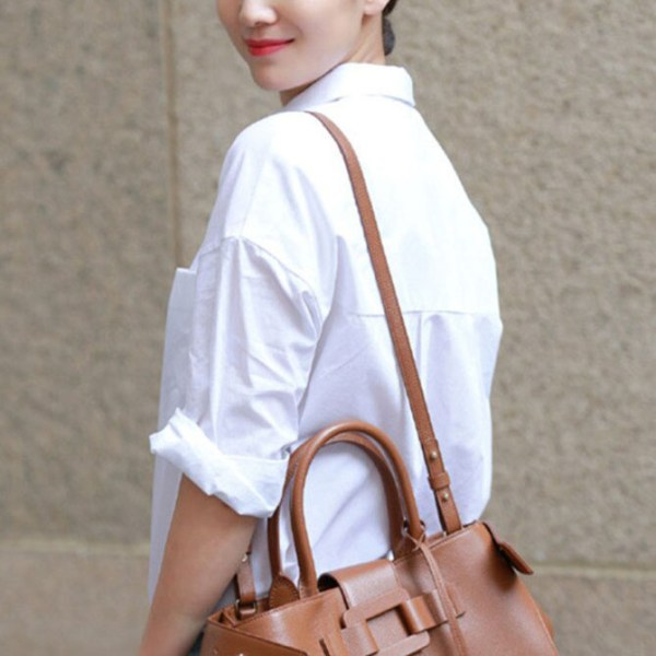 Basic White Full-Sleeve Shirt worn by a model with her back turned to the side