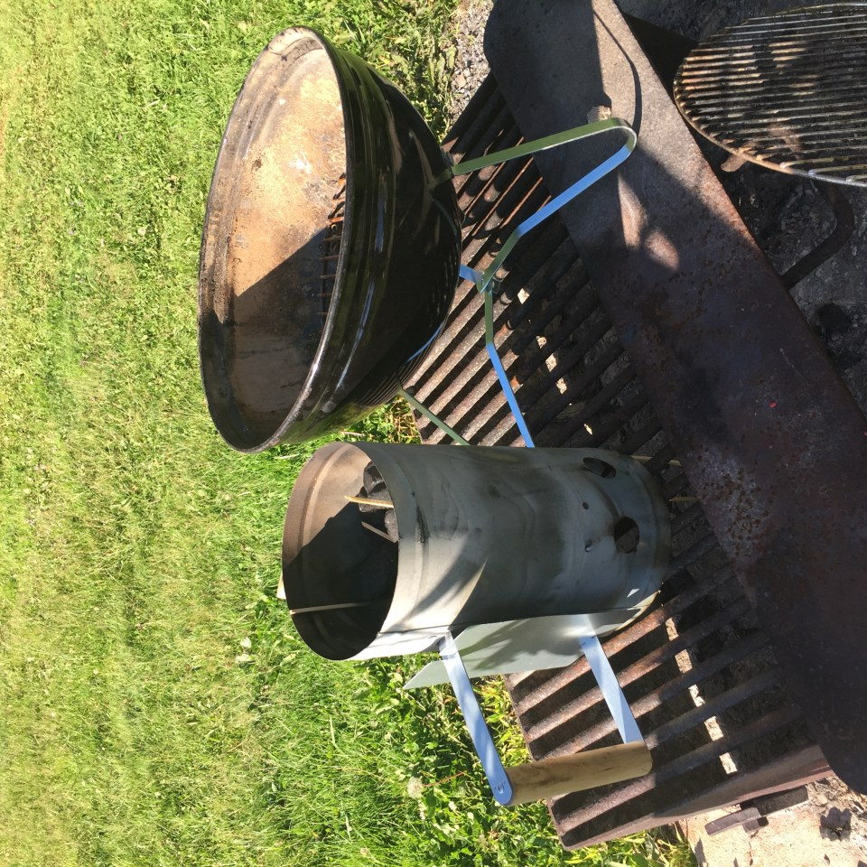 Kingsford coals started in a coal chimney with no lighter fluid is the way to go when grilling. No lighter fluid!