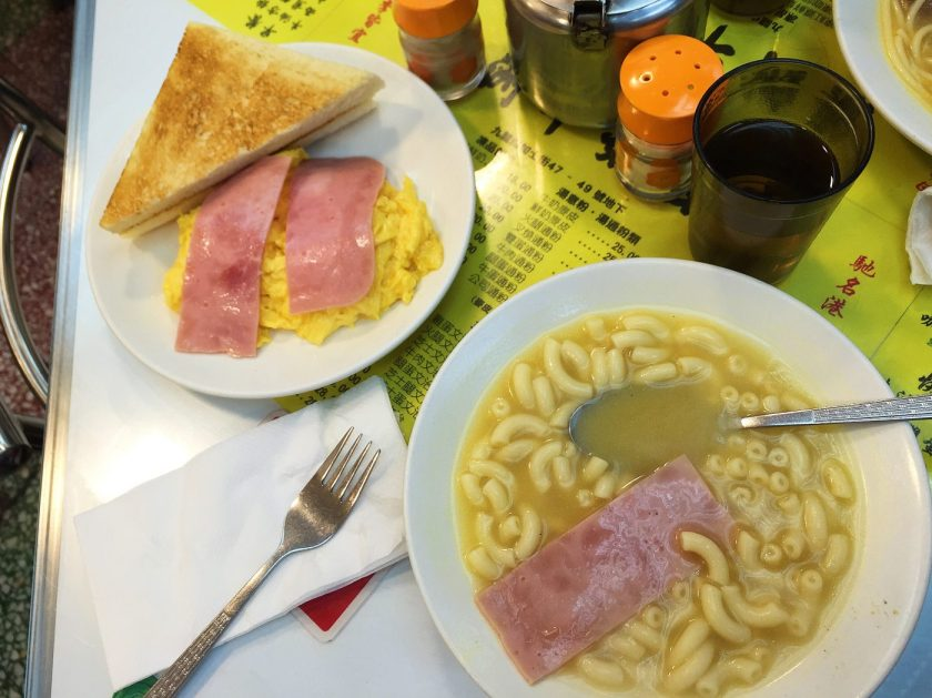 Scrambled eggs and Macaroni soup with Ham