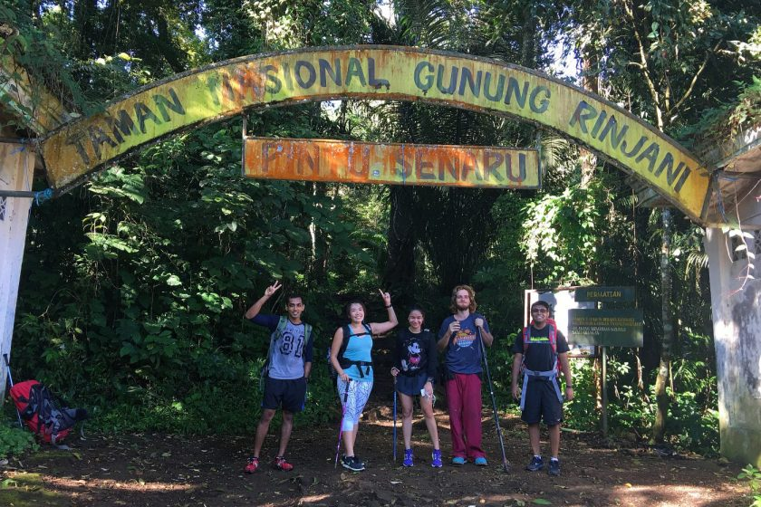 At the entrance of the Mount Rinjani National Park