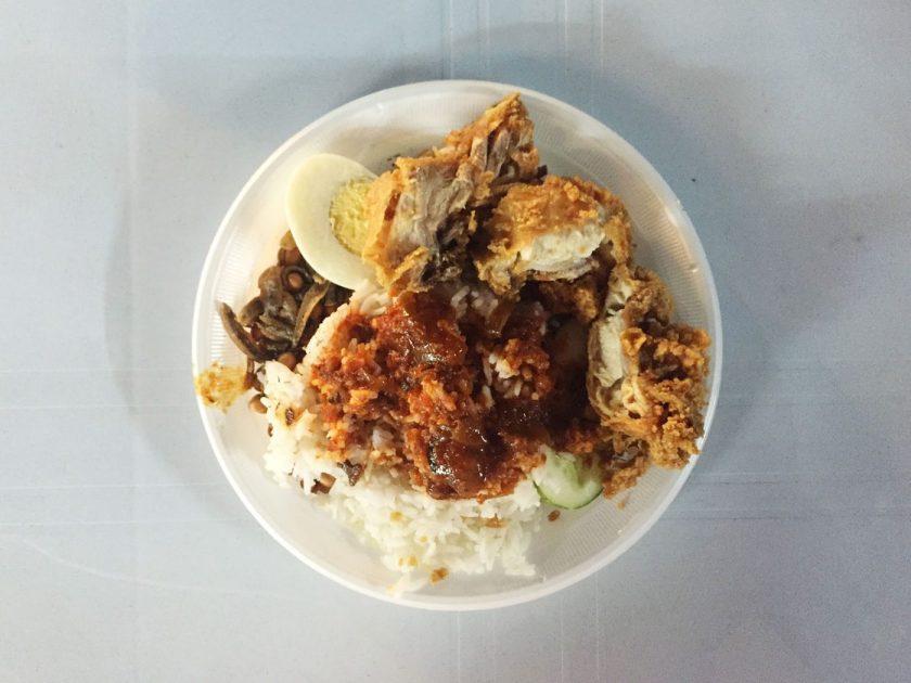 The finished Nasi Lemak dish!
