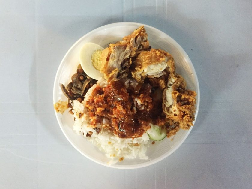 The finished Nasi Lemak dish!