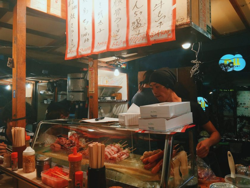 Yatai stalls are often manned by young Japanese men