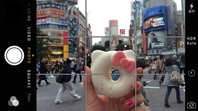 iPhone camera with Grid View Enabled